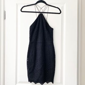 Topshop black strappy lace dress